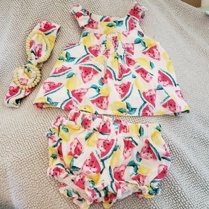 new born 3 pc outfit set tank top, shorts, and hea